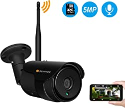 Jennov 5MP Wireless WiFi Security Camera H264+ Video Home Surveillance Outdoor Waterproof and Siren Alarm 2.4G Wi-Fi/Ethernet Connection Motion Detection Two-Way Audio