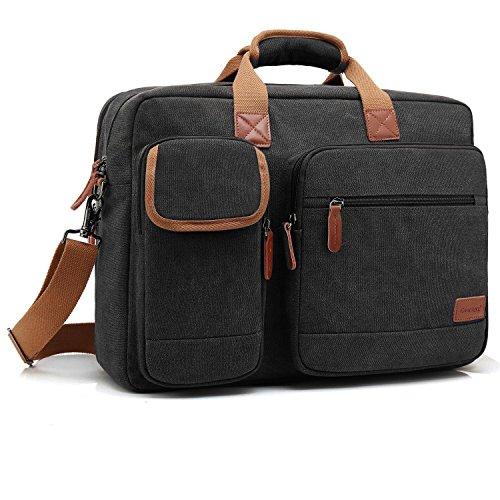 CoolBELL 17.3 Inch Laptop Tasche Aktentasche Herren Messenger Bag Umhängetasche Multifunktional Schultertasche schützend Laptoptasche für 17-17,3 Zoll MacBook,Canvas Schwarz