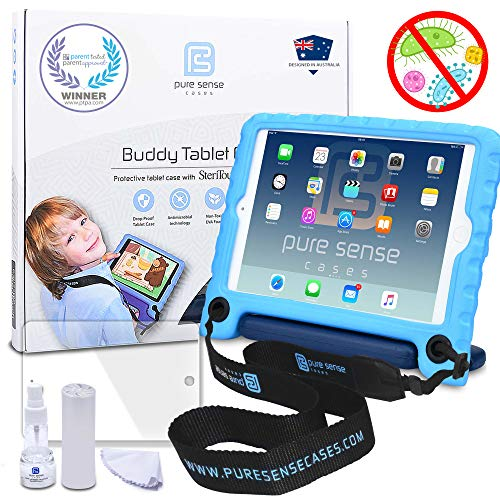 Pure Sense Buddy [Anti-Microbial Kids Case] for Apple iPad Mini 3, iPad Mini 2, iPad Mini 1 | Full Kit: Case, Strap, Screen Protector, Spray (Blue)