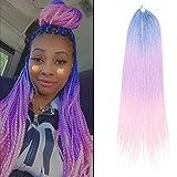 Senegalese Twist Box Braids Crochet Hair 24 inch 7 Packs/Lot Big Head Friendly Handmade 3 Tone Ombre Color Braiding Crochet hair Extensions for Black Women(3S,Blue/purple/pink)