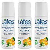 Lafe's   Active - Citrus & Bergamot - Roll-on Aluminum Free Natural Deodorant for Women & Men   Vegan, Cruelty Free, Gluten Free, Paraben Free & Baking Soda Free with 24-Hour Protection; 3 Pack (3 oz each)