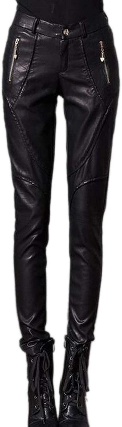 GenericWomen High Waist Zip Moto Faux Leather Fleece Winter Legging Pant