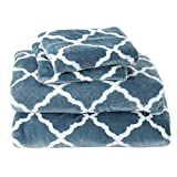 Great Bay Home Micro Fleece Extra Soft Cozy Velvet Plush Sheet Set. Deluxe Bed Sheets with Deep Pockets. Velvet Luxe Collection (Full, Smoke Blue/White)
