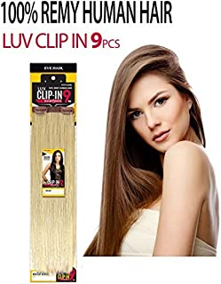 EVE HAIR 100% Remy Human Hair Clip In Extensions - 9 Pieces 20 Clips - 80 Grams - Silky Straight - 14 Inches - #P18/22