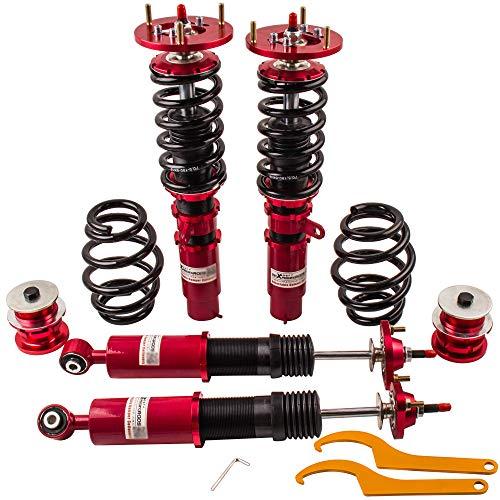 ZYauto Kit de Ajustable Amortiguador de Suspensión del Coche, Rojo