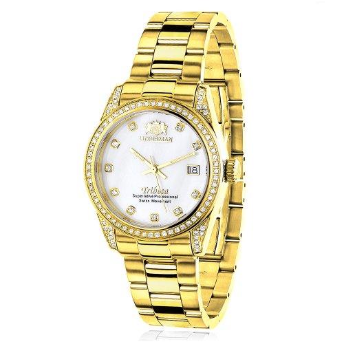 Women's Diamond Watch Yellow Gold Plated LUXURMAN Tribeca 1.5ct