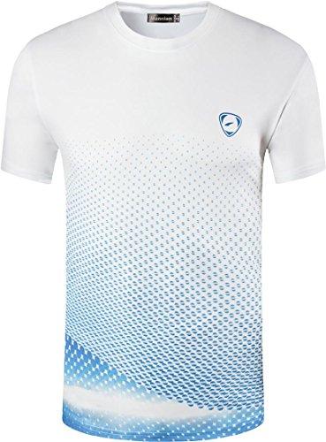 jeansian Herren Sportswear Quick Dry Short Sleeve T-Shirt LSL225_WhiteBlue S