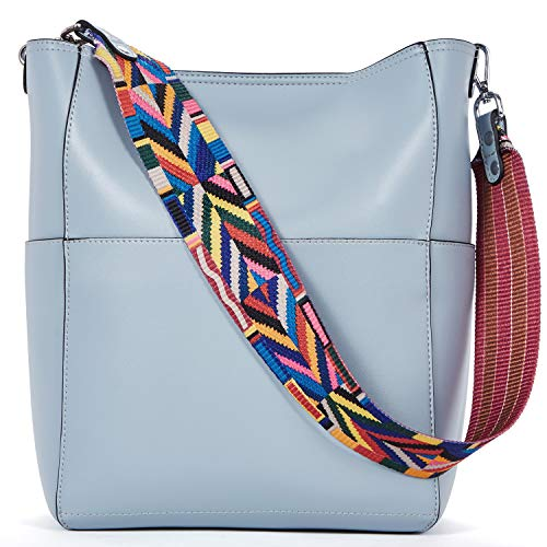 BROMEN Women Handbag Designer Vegan Leather Hobo Handbags Shoulder Bucket Cross-body Purse Light Blue