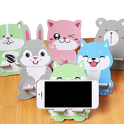 Persdico Soporte de teléfono móvil Perezoso de Madera Universal de Dibujos Animados Accesorio Animal Ajustable Soporte de Tableta para teléfono móvil Color Aleatorio