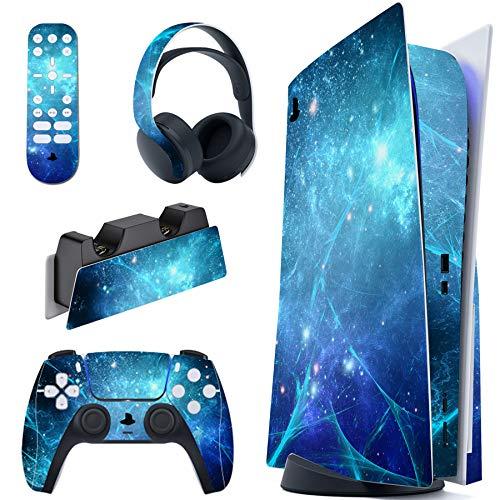 PlayVital Pegatina Completa para PS5 Edición Normal Calcomanía Vinilo para Playstation 5 Consola&Control&Estación de Recarga&Control Remoto&Audífonos Adhesivo Piel para DualSense 5-Nebulosa Azul