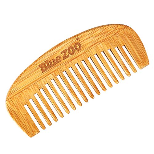 Folewr-8 Mini Portable Peigne Cheveux à Larges Dents Antistatique en Bois De Bambou Naturel