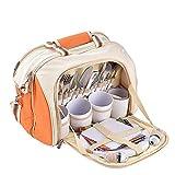 Borsa da Picnic Picnic Basket Tote 4 Person Picnic Backpack Backpack con Coperta Include 29 Pezzi Borsa di Raffreddamento Bottiglia Staccabile/Porta Vino in Pile Coperta Posate e Piatti per Viaggi /