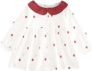Girls Warm Ruffles Tops Strawberry Print Dresses Print Princess Dress Printed Clothes Kids Comfy Cute Fashion Ki-8Jcud
