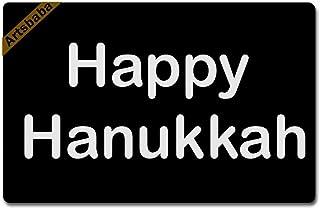 Artsbaba Doormat Happy Hanukkah Door Mat Rubber Non-Slip Entrance Rug Floor Mat Balcony Mat Funny Home Decor Indoor Mat 2...