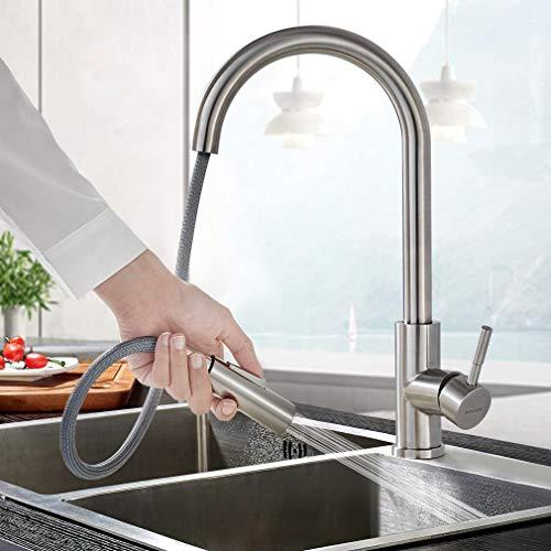 BONADE Küchenarmatur mit ausziehbare Brause 360° Drehbare Spültischarmatur Edelstahl Wasserhahn Küche Zwei Wasserstrahlarten Einhand-Spültischbatterie Gebürstet Mischbatterie Küche