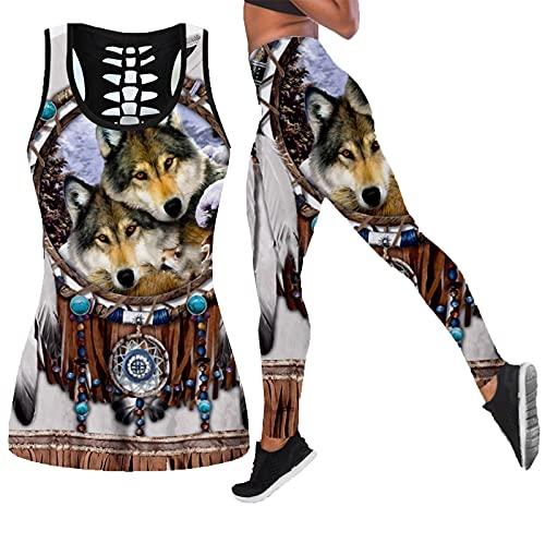 Indio Lobo Animal Art de dos piezas Yoga Set Mujeres 3D Impresión ahueca hacia fuera Tank Top cintura alta Legging verano deporte