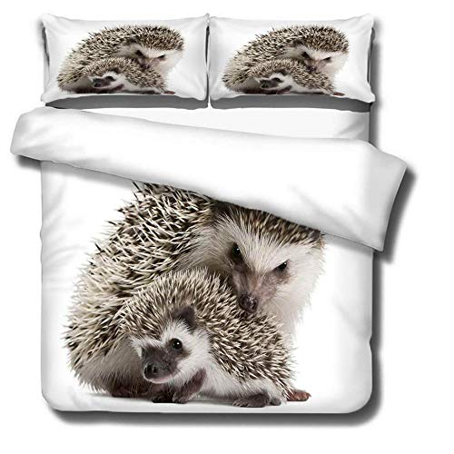 DJDSBJ Duvet covers king size beds Printing Hedgehog mother and child 240x220cm + 2 pillowcases.