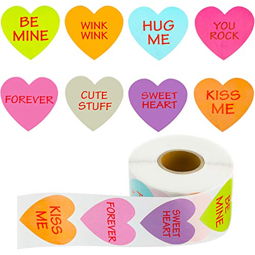 Outus 800 Pieces Valentine's Day Heart Shaped Stickers
