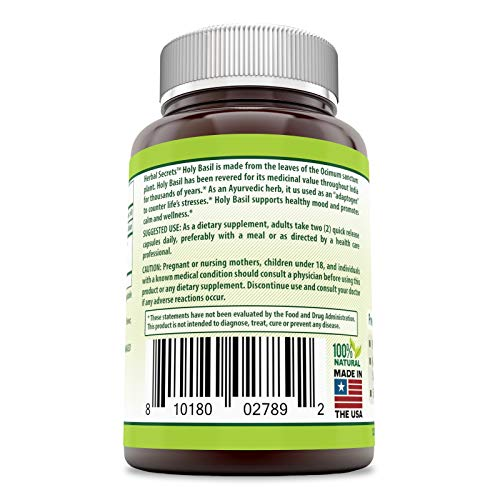 Herbal Secrets Holy Basil 1000 Mg Per Serving 120 Capsules (Non-GMO)- Promotes Calm & Wellness, Helps Provide Healthy Mood Support, Support Healthy Adrenals*
