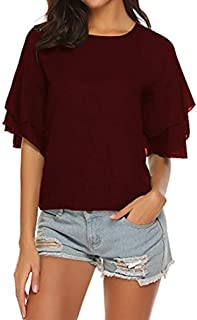 Tobrief Women's Chiffon Top Casual Loose Short Sleeve Round Neck Keyhole T Shirt Blouses