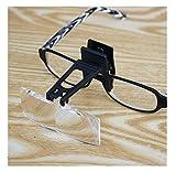 Yunyangquyuqisuibaihuodian XY-YZGF Vasos de Cristal con luz Clip Lupa, 3X portátil Ligero asistida Visión Lectura Baja Periódico 2X 4X 25x Ligero portátil de Cristal