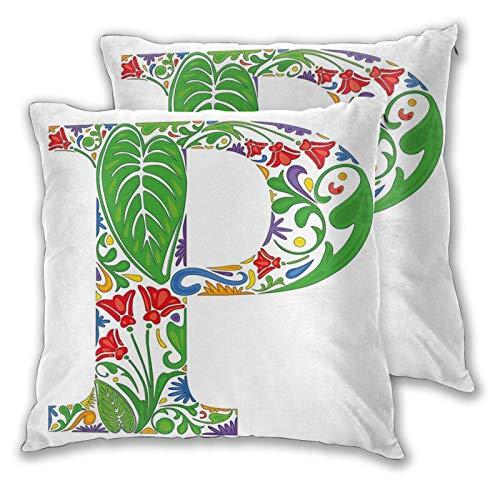 FULIYA Fundas de almohada de 2 piezas decorativas abstractas paleta de colores en capital P, diseño de flores, hojas, pétalos de naturaleza, fundas de almohada de 40,6 x 40,6 cm con cremallera.