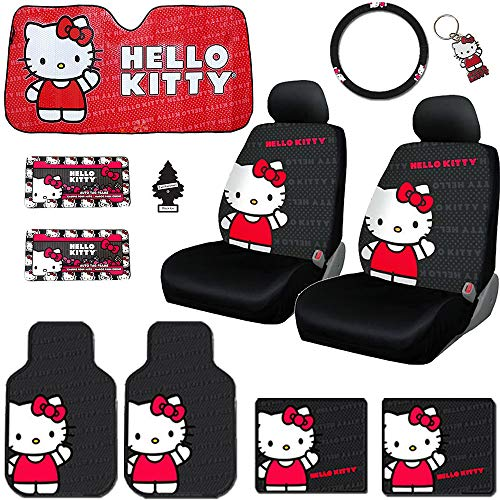 Yupbizauto New Platicolor Brand 12 Pieces Hello Kitty Car Seat Cover with 4 Rubber Mats, License Plate Frame, Steering Wheel Cover, Large Size Sunshade, Key Chain and Air Freshener