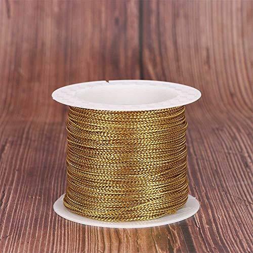 YJZZ 20M 1 mm de Cuerda roja de Plata de Oro del cordón del Hilo de la Cuerda de la Cinta Cuerda Correa Hilo Tag Pulsera Que Hace la línea Antideslizante Ropa Regalo de la decoración (Color : Oro)