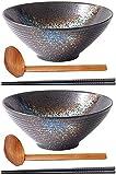 2x Ramen Bowls, grandes conjuntos de cuencos de fideos de sopa de fideos ramen japoneses, cuenco de cerámica japonesa que sirve con cuchara a juego y palillos, 7 pulgadas / 8 pulgadas / RAM de,9 inch
