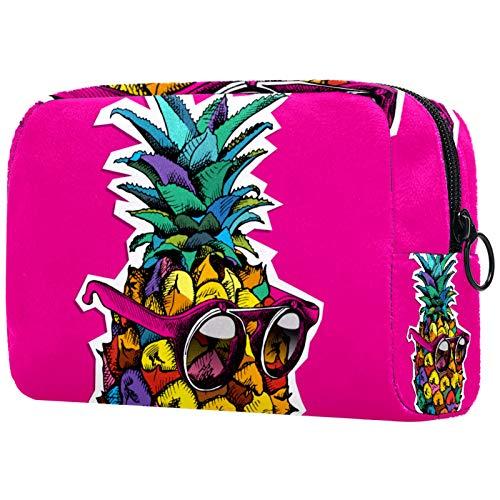Bolsa de cosméticos para Maquillaje, Monedero para Mujer, Bolso de Mano Espacioso de Moda, Cartel Brillante, Fruta de piña en Gafas de Sol