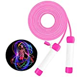 LED Jump Rope for Kids Colorful Skipping Rope Light Up Ropes for Girls Boys Fitness Exercise & Lights Dancing & Night Party Favors, 7FT