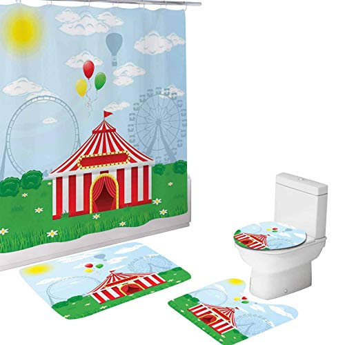 Circus 4 Piece Bathroom Set,Circus Tent on Nature Clouds Sunshine,72'x72'Shower Curtains with Toilet Pad Cover Bath Mat Shower Curtain Set Multicolor