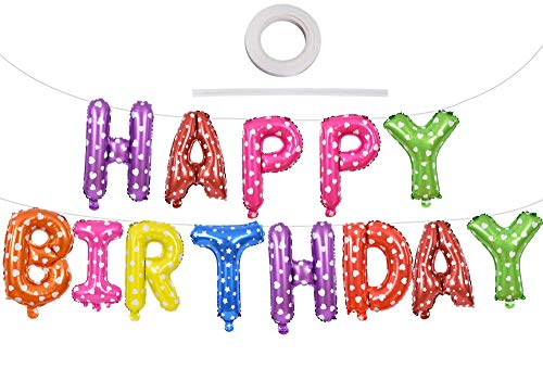 MEYSIMOON Happy Birthday Decoration Kids Rainbow Party Supplies Colorful Birthday Banner Sign,New Design Pom Poms and Dot Garland Birthday Decor Kit for Girls Women