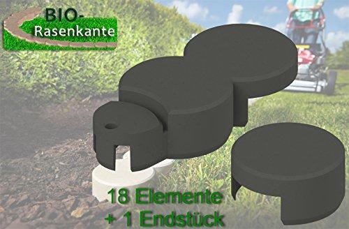 Beeteinfassung Bio-Rasenkante anthrazit. ca.3 Meter. 18 Elemente plus 1 Endstück