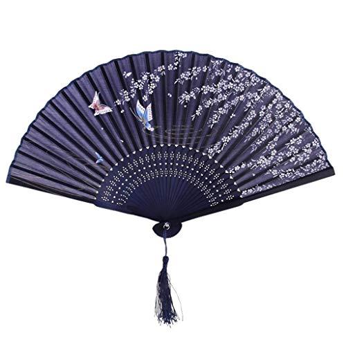 Los aficionados chinos decorativos de época Spun Seda patrón de flor del...