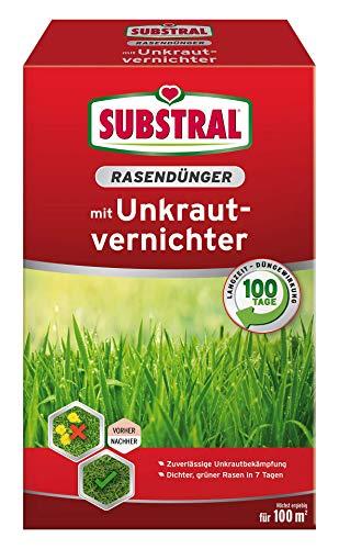 Substral Rasendünger mit Unkrautvernichter,Profiqualität mit 100 Tage Langzeitwirkung und Unkrautvernichtung, 2 kg für 100 m²