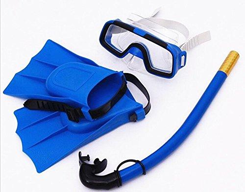 SAFLYSE Kinder Schnorcheln Set (Taucherbrille + Schnorchel + taucherflossen) Schnorchel Set Tauchset (blau)