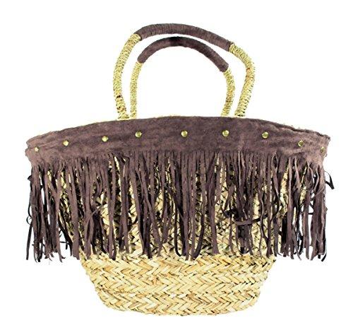 Korbtasche Strandtasche Fransen braun Nieten Ibiza Style (braun)