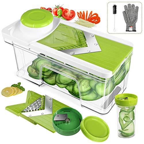 ONSON Adjustable Mandoline Slicer with Spiralizer Vegetable Slicer  V Blades Food Slicer Veggie Slicer Cutter Zoodle Maker  Vegetable Spiralizer with Julienne Grater Green