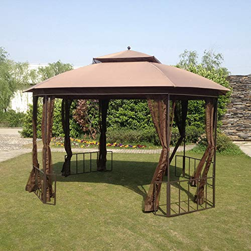 Sunjoy A111504300 Original Replacement Mosquito Netting for Catalina Gazebo (11x13 FT) L-GZ660PST-D Sold at BigLots, Brown