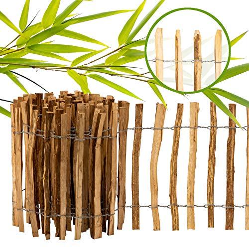 BooGardi imprägnierter Staketenzaun · 12 Größen · 80cm hoch · 5m lang · Lattenabstand 7-9cm · Kastanienzaun Gartenzaun Holzzaun