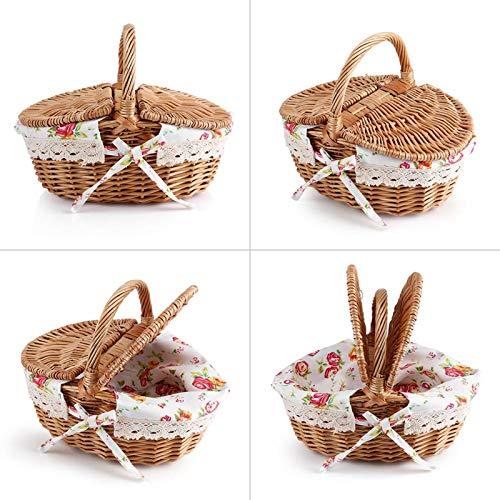 Socobeta Cesta de picnic con asa de transporte alta con forro de algodón extraíble para pícnic BBQ Brond