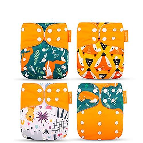Flying Hedwig 4PCS Baby Taschenwindeln Stoffwindel Waschbare Wiederverwendbare für Die Meisten Babys und Kleinkinder (Stil 2)