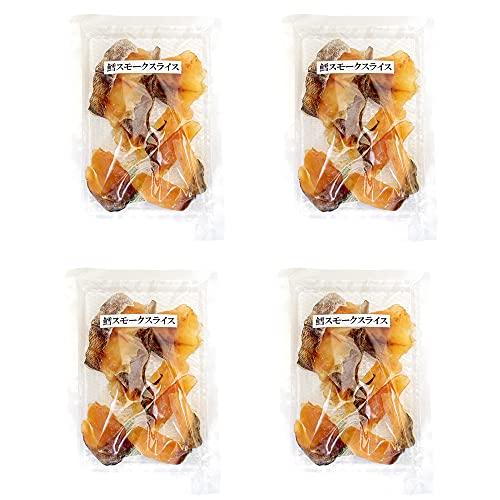 鱈スモークスライス50g×4個(北海道産鱈使用)タラの珍味 乾物ちんみ(たらの燻製 くんせい鱈)おやつ お茶請け お酒のおつまみ(タラスモーク カット鱈)