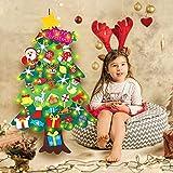 Foho 3D Árbol de Navidad de Fieltro, 34 Ornamentos Desmontables El árbol de Navidad de 3.7ft para Regalos navideños, Decoración de Navidad para Paredes y Puertas del hogar (con Cadena de Luces LED)