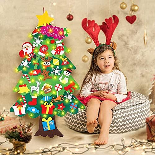 Foho 3D Árbol de Navidad de Fieltro, 34 Ornamentos Desmontables El árbol...
