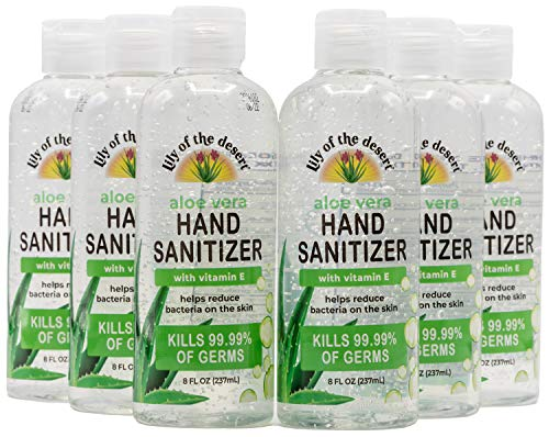 Lily of the Desert Hand Sanitizer - 8oz Bottle (6 Pack) with Organic Aloe, Made in USA, 70% Alcohol, 15% Aloe Vera, Moisturizing Gel for Soft Hands with Vitamin E