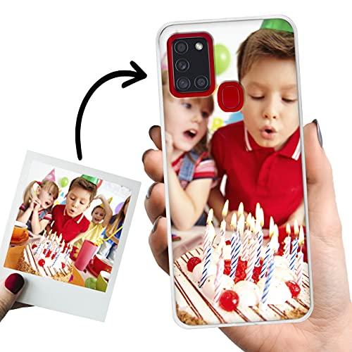 Phone Case Trends – Funda Samsung A21S Personalizada con Foto o Texto – Carcasa Personalizable de Gel Flexible para Móvil - Funda Transparente, Antigolpes y de Silicona - Impresión Directa en Funda