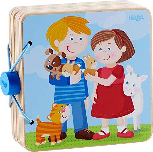 HABA 303775 - Holz-Babybuch Tierkinder | Stabiles Holzbuch ab 10 Monaten | Leicht zu greifende Seiten aus Holz mit bunten Tiermotiven