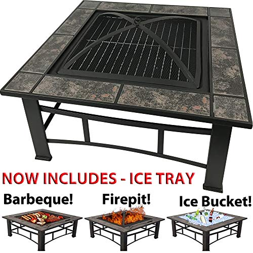 RayGar 3 in 1 Square Fire Pit BBQ Ice Pit Patio Heater Stove Brazier Metal Outdoor Garden Firepit With Ceramic Tiles + Protective Cover (Now Includes Ice Tray) FP44 - New